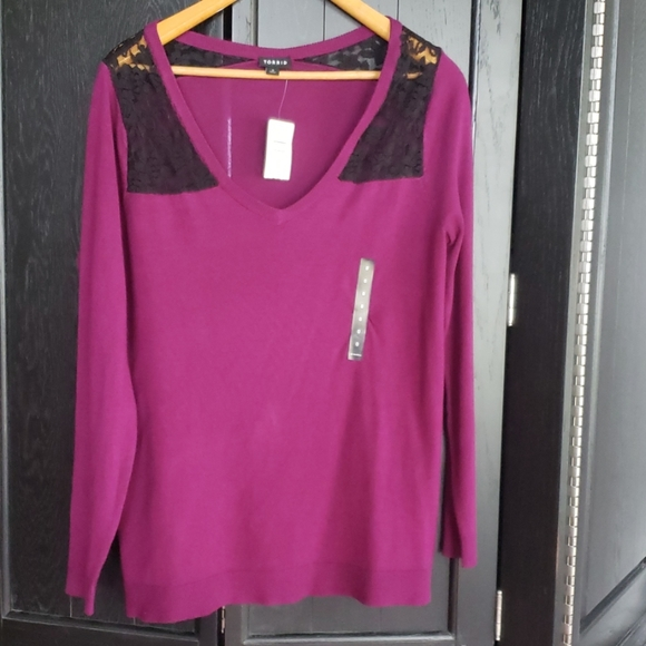 Eggplant purple color torrid sweater with lace